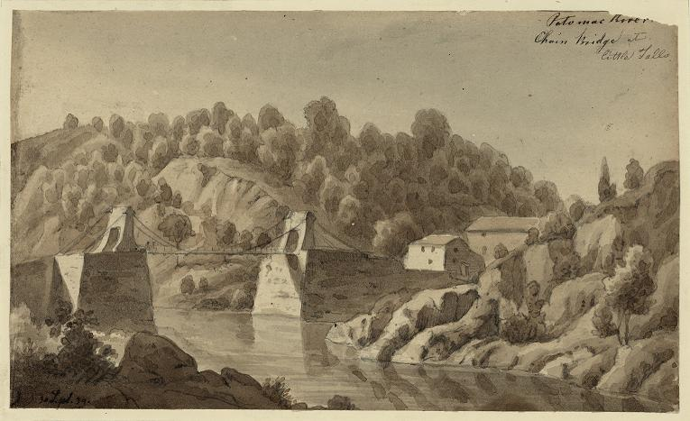 1839 Artist's rendition of the Chain Bridge over the Potomac.