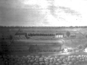 Artist's rendition of the Bliss Farm prior to its burning.