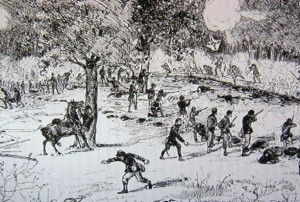 Artist's rendition of the 22nd's fight at Gaines' Mill from the regimental history.