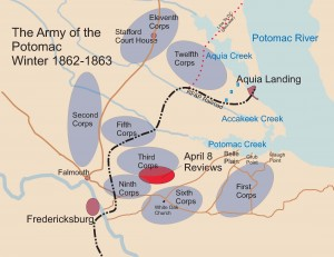 Union camps and review sites, April 8 1863