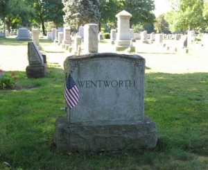 Edwin Wentworth's headstone at Hope Cemetery in Worcester MA